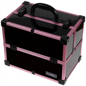 Geanta Produse Cosmetice din Aluminiu, Black Case Violet - LUXORISE