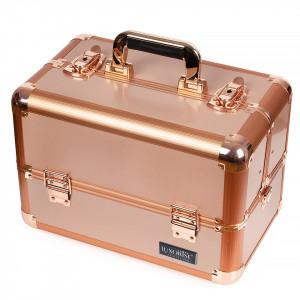 Geanta Produse Cosmetice din Aluminiu, Perfect Organizer, Bronze - LUXORISE