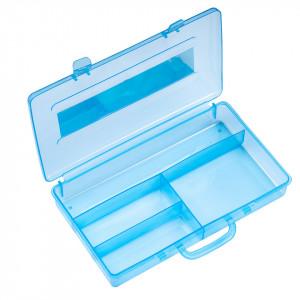 Cutie Transparenta manichiura, 4 compartimente, bleu