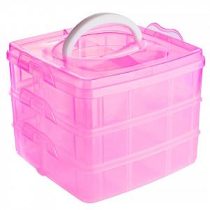 Cutie transparenta manichiura pe 3 niveluri, roz