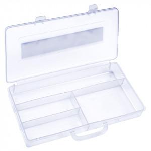 Cutie Transparenta manichiura, 4 compartimente, alb