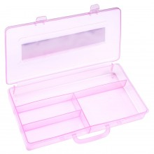 Cutie Transparenta manichiura, 4 compartimente, roz