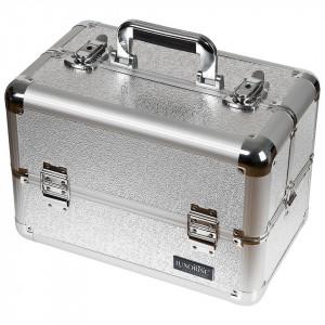 Geanta Produse Cosmetice din Aluminiu, Perfect Organizer, Taupe Gray - LUXORISE