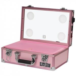 Statie Makeup Portabila Profesionala Mini cu Lumini LUXORISE, Taffy Pink