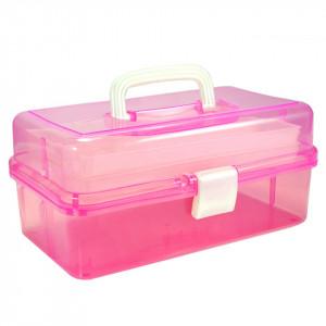 Cutie transparenta manichiura cu doua sertare, roz