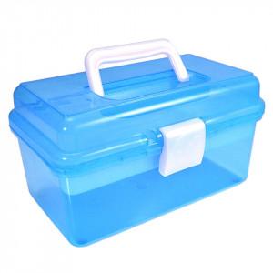 Cutie transparenta manichiura cu un sertar, bleu