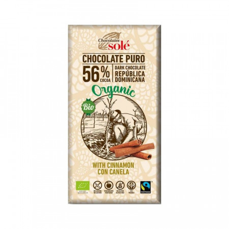 Ciocolata neagra BIO cu scortisoara, 100 gr Chocolates Sole