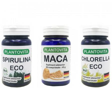 Pachet Superalimente : Spirulina + Maca + Chlorella