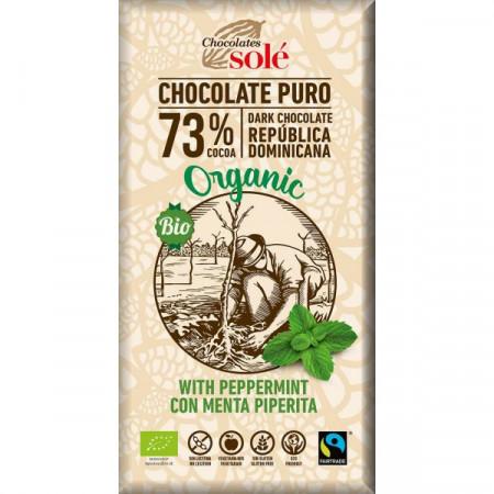 Extinde CIOCOLATA NEAGRA CU MENTA BIO SI FAIRTRADE 73% CACAO, 100G CHOCOLATES SOLE
