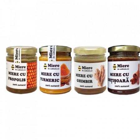 Pachet 4 amestecuri de miere: miere cu scortisoara + miere cu turmeric + miere cu ghimbir + miere cu propolis