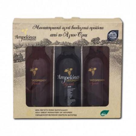 Pachet cadou - 3 sticle vin 187 ml - Manastirea Vatoped - Sf. Munte Athos