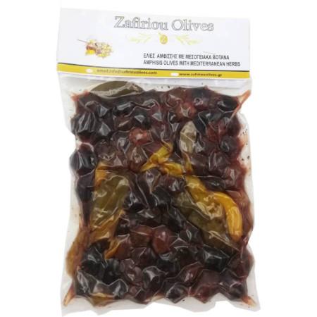 Măsline Amfissa cu ierburi mediteraneene, 500 gr