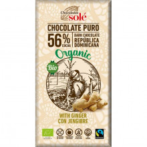 Ciocolata neagra BIO cu ghimbir, 56% cacao, 100 gr Chocolates Sole