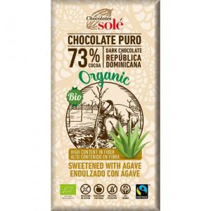 CIOCOLATA NEAGRA BIO CU SIROP DE AGAVE, 73% CACAO, 100 G CHOCOLATES SOLE
