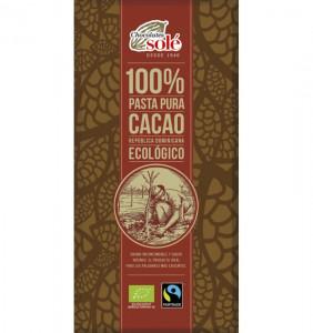 CIOCOLATA NEAGRA BIO 100% CACAO, 100G CHOCOLATES SOLE