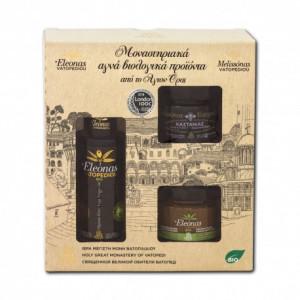 Pachet cadou - 1 sticla ulei 100 ml, miere 100 gr, pasta masline 100 gr - Manastirea Vatoped - Sf. Munte Athos