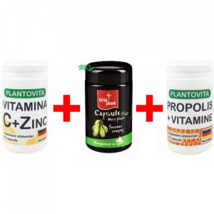 Pachet Super Imunitate: Vitamina C si Zinc + Capsule Pneumo Nera Plant + Propolis si Vitamine