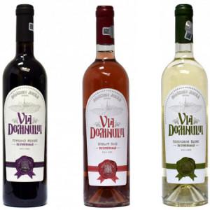 Pachet 3 vinuri seci Via Domnului: Feteasca neagra + Merlot Roze + Sauvignon blanc