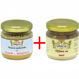 Pachet : miere cu susan si migdale + miere cu nuci de la Manastirea Turnu