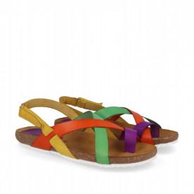 Sandale din piele LELIA multicolor