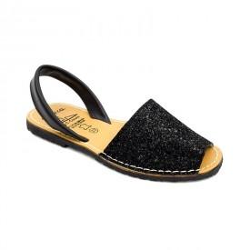 Sandale din piele naturala, AVARCA GLITTER Black