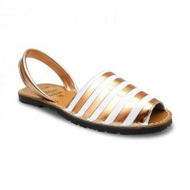 Sandale din piele naturala, METALIC STRIPES Bronz