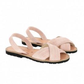 Sandale din piele si catifea MINORQUINES Berlin Rose