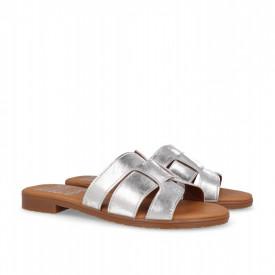 Papuci din piele PLATEA Silver