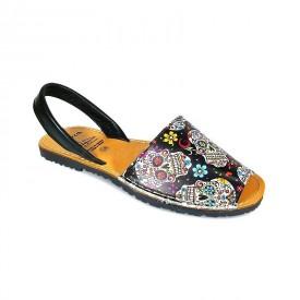 Sandale de dama din piele naturala, AVARCA SKULLS Black