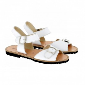Sandale din piele naturala MINORQUINES BUCKLE White