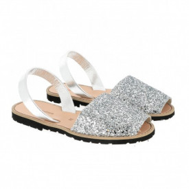 Sandale din piele naturala MINORQUINES Glitter Silver