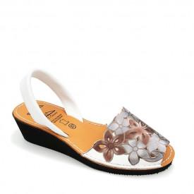 Sandale din piele AVARCA FLOWER WEDGE White