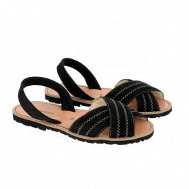 Sandale din piele si catifea MINORQUINES Berlin Black