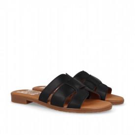 Papuci din piele PLATEA Black