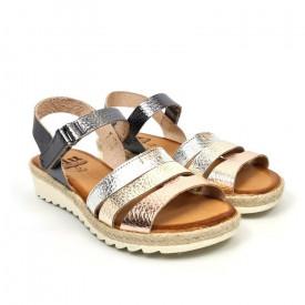 Sandale din piele naturala MARIELA Metalic