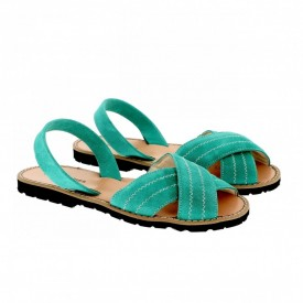 Sandale din piele si catifea MINORQUINES Berlin Aqua
