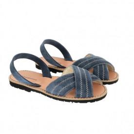 Sandale din piele si catifea MINORQUINES Berlin Blue