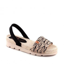 Sandale din yuta naturala si piele REINA Black
