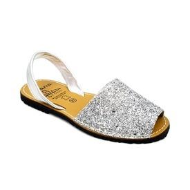 Sandale din piele naturala, AVARCA GLITTER Silver