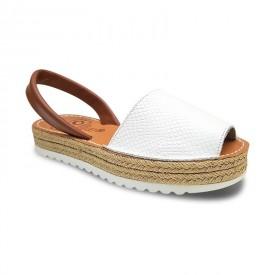 Sandale din piele naturala AVARCA REPTILE White