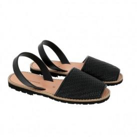 Sandale din piele naturala MINORQUINES Braided Black