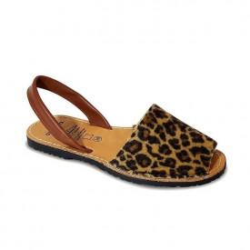 Sandale din piele pony AVARCA LEOPARD