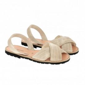 Sandale din piele si catifea MINORQUINES Berlin Sand