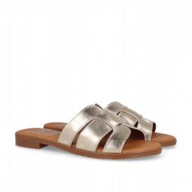 Papuci din piele PLATEA Gold