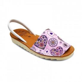 Sandale de dama din piele naturala, AVARCA PINK HEART
