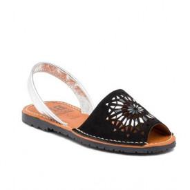 Sandale din piele intoarsa, AVARCA INDIAN Black