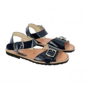 Sandale din piele lacuita MINORQUINES BUCKLE Marino