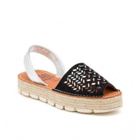 Sandale din piele naturala AVARCA DROPS Black