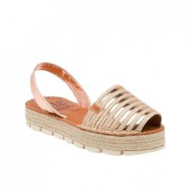 Sandale din piele naturala AVARCA RAFFIA ROSE