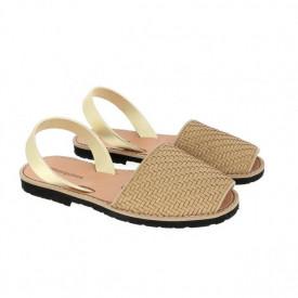 Sandale din piele naturala MINORQUINES Braided Beige